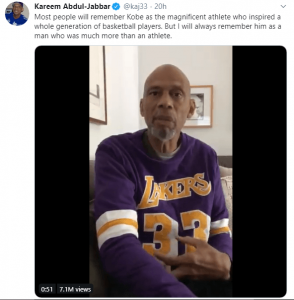 Kareem Tweet on Kobe Bryant Death