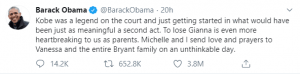 Barack Obama tweet on Kobe Bryant