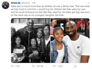 Shaq's tweet on Kobe's death