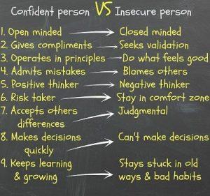 confident person vs insecure person